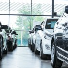 Cars in dealership showroom