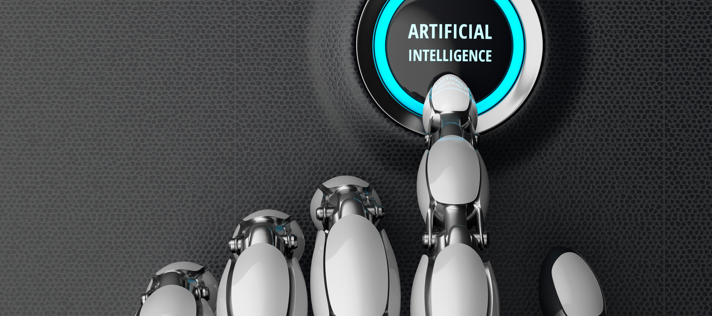 artificial intelligence button with robotic finger