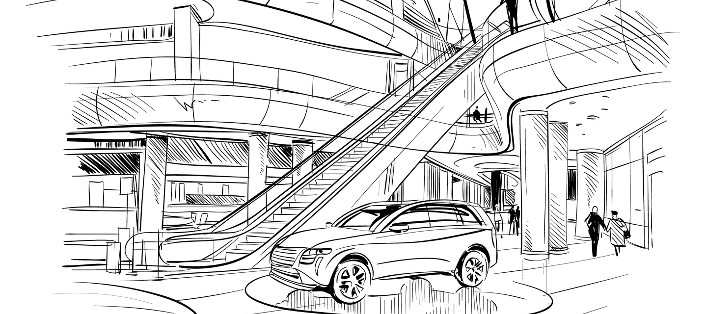 car in shopping centre hand-drawn sketch