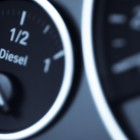 close up of fuel gauge in car