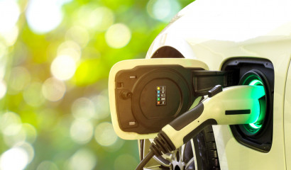 close up of electric car charging